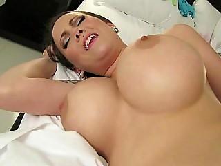 Busty hottie makes her own porn film