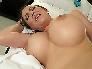 Busty hottie makes her own porn film