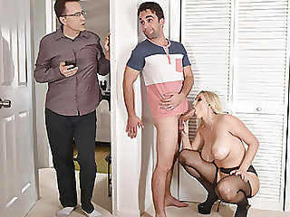Ash-blonde wifey Vanessa takes her stepsons shaft into her mouth