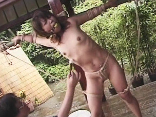 Japanese dame strapped and confined with faux-cock